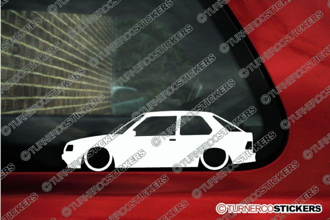2x Lowered car outline stickers - Peugeot 309,  3-Door